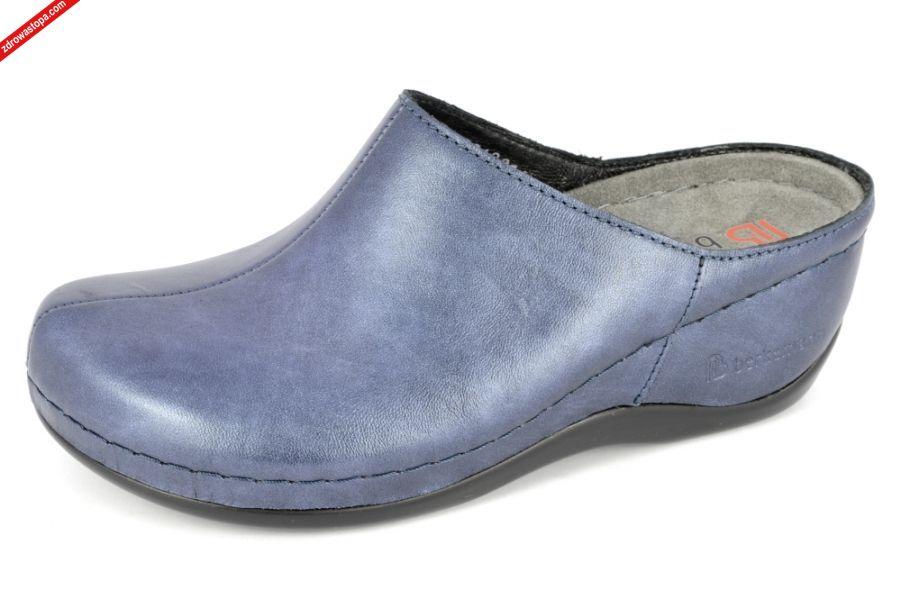 5f8cee08fab40d Typ: klapki damskie BERKOFLEX Kolor: niebieski - blau Perlatoleder Materiał  wierzchni: skóra cielęca- leather. Wnętrze buta: skóra/materiał obuwniczy